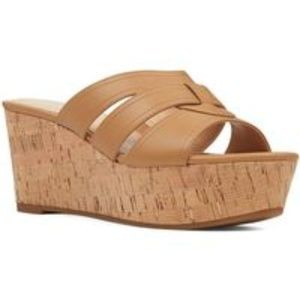 Nine West Women's slip on sandals nude platform